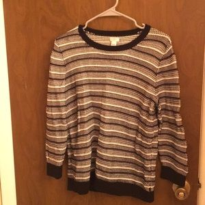 J-crew sweater; black, white, gray